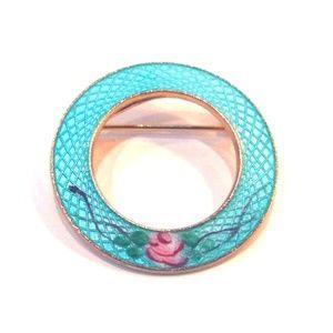 Jewelry - Vintage Victorian Blue Guilloche Enamel Brooch Pin